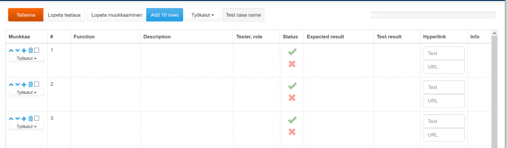 ProjectTOP testausohjelmisto testirivien kirjoitus
