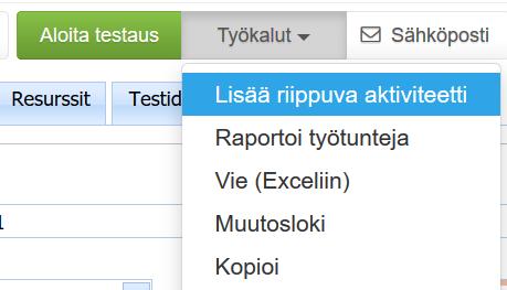 ProjectTOP testausohjelmisto aktiviteettien riippuvuudet