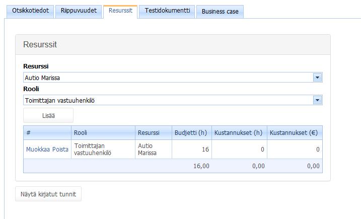 ProjectTOP testausohjelmisto kehitysehdotuksen resurssit