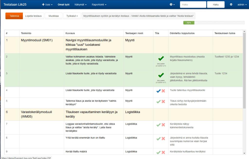 ProjectTOP testausohjelmisto testidokumentti testirivin hyväksyntä