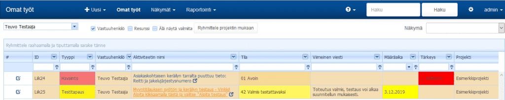 ProjectTOP testausohjelmisto henkilökohtainen työlista