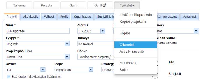 ProjectTOP testausohjelmisto projektin oikeudet