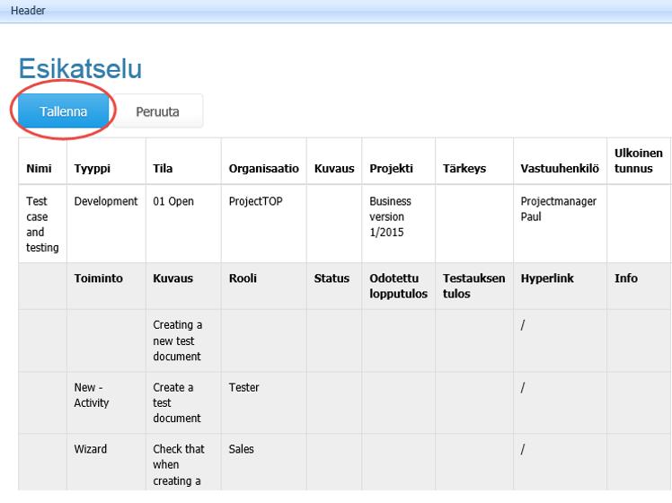 ProjectTOP testausohjelmisto testitapauksen lataus excel esikatselu