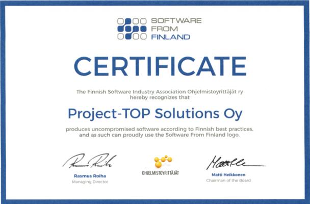 ProjectTOP testausohjelmisto sertifikaatti software from finland